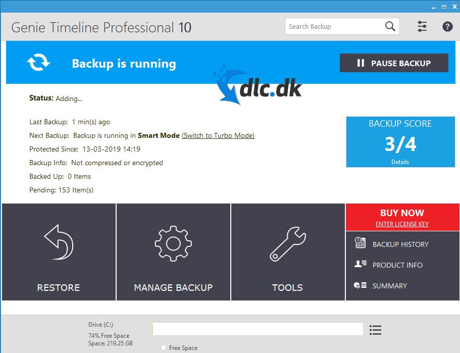 Screenshot af Genie Backup Manager Home Edition