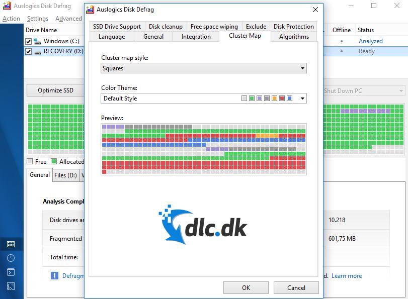 Screenshot af Auslogics Disk Defrag