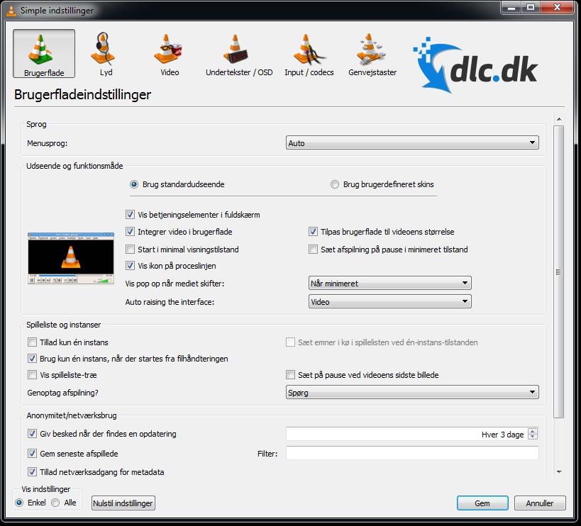 Screenshot af VLC Media Player