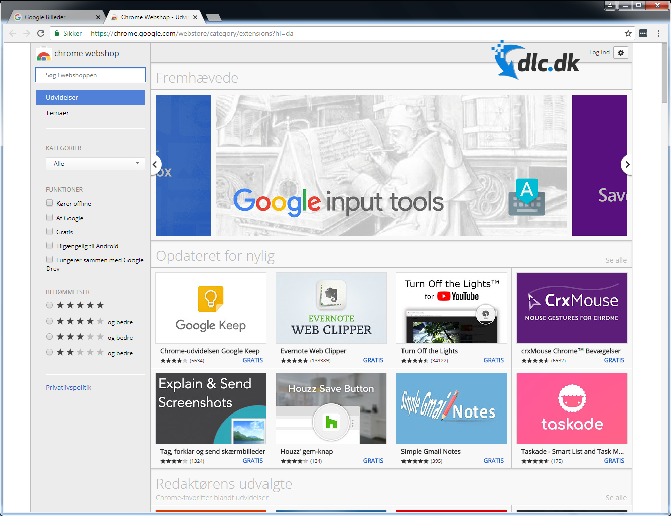 Screenshot af Google Chrome