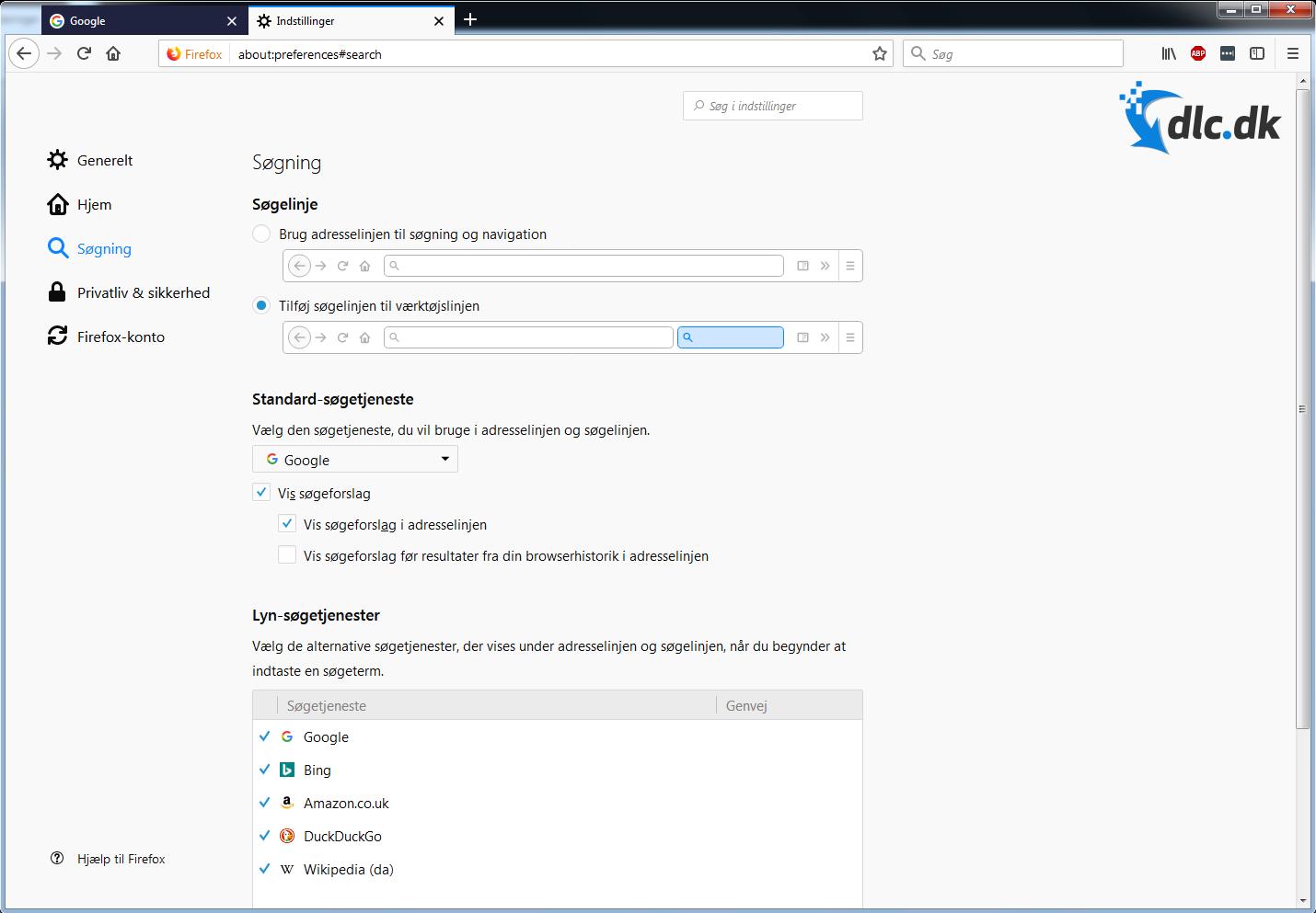 Screenshot af FireFox (Deutsch)