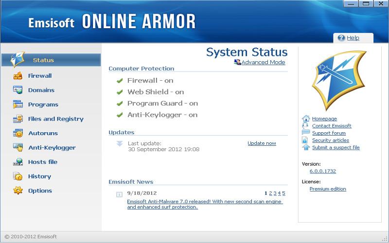 Screenshot af Online Armor