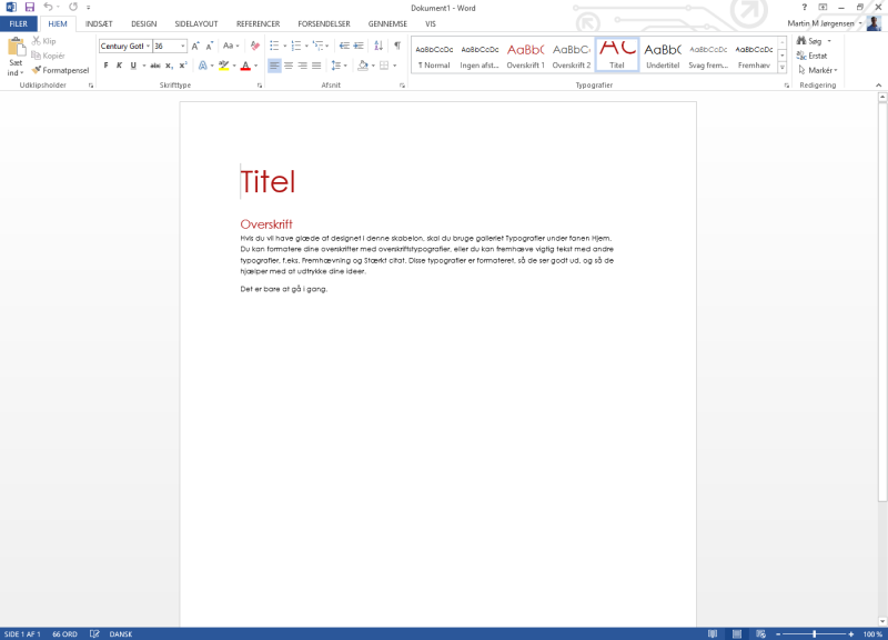 Screenshot af Microsoft Office Home and Student