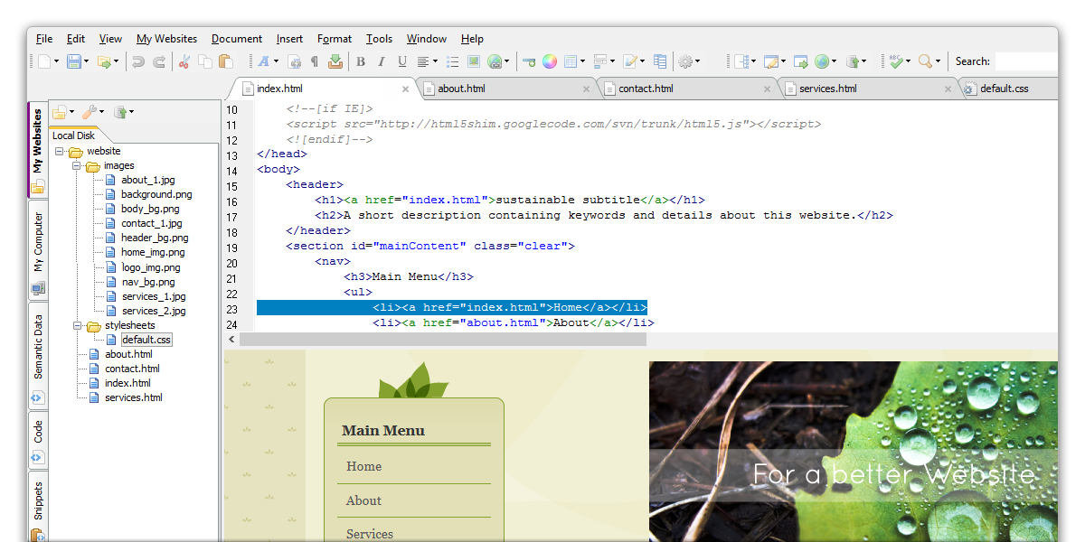 Screenshot af The HTML Editor