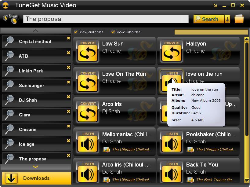 Screenshot af TuneGet Music Video