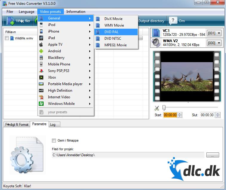 Screenshot af Free Video Converter