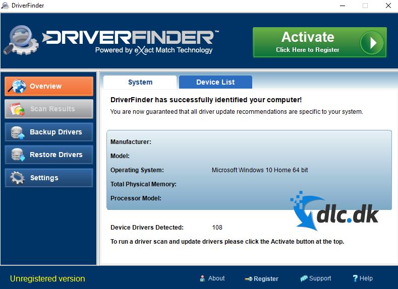 Screenshot af DriverFinder