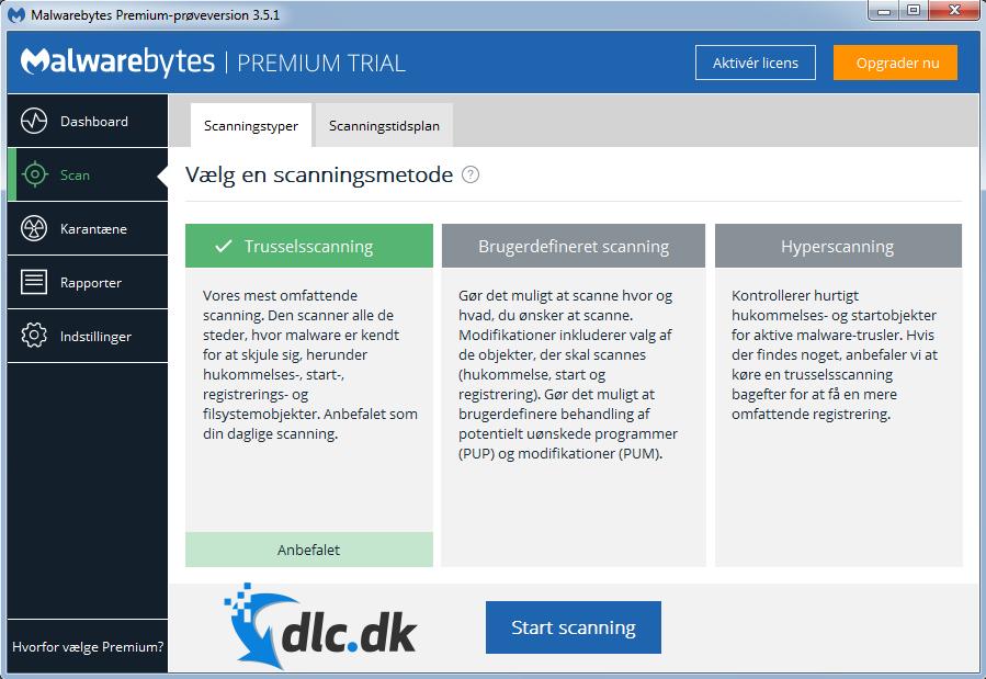 Screenshot af Malwarebytes' Anti-Malware Free