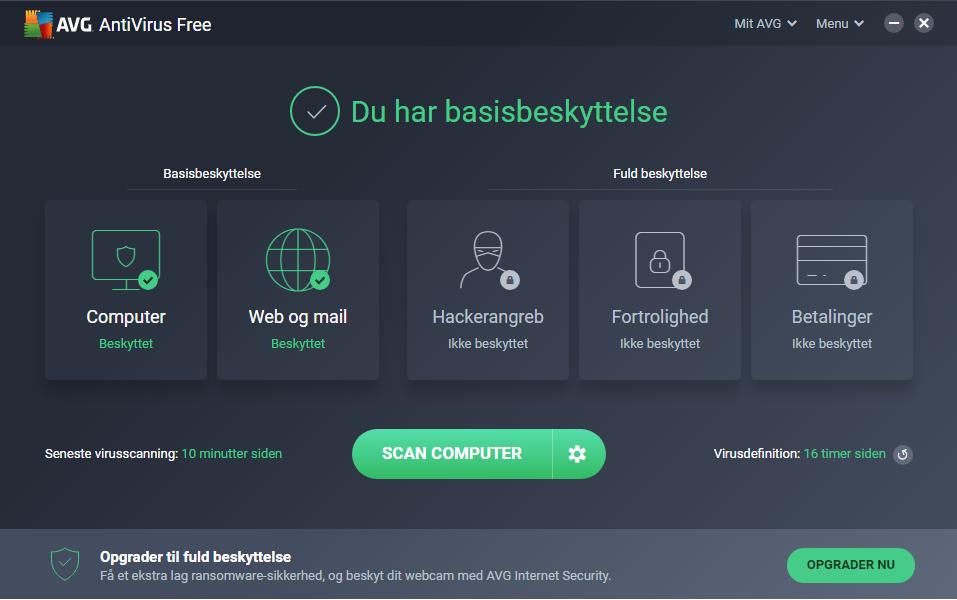 Screenshot af AVG Anti-Virus Free