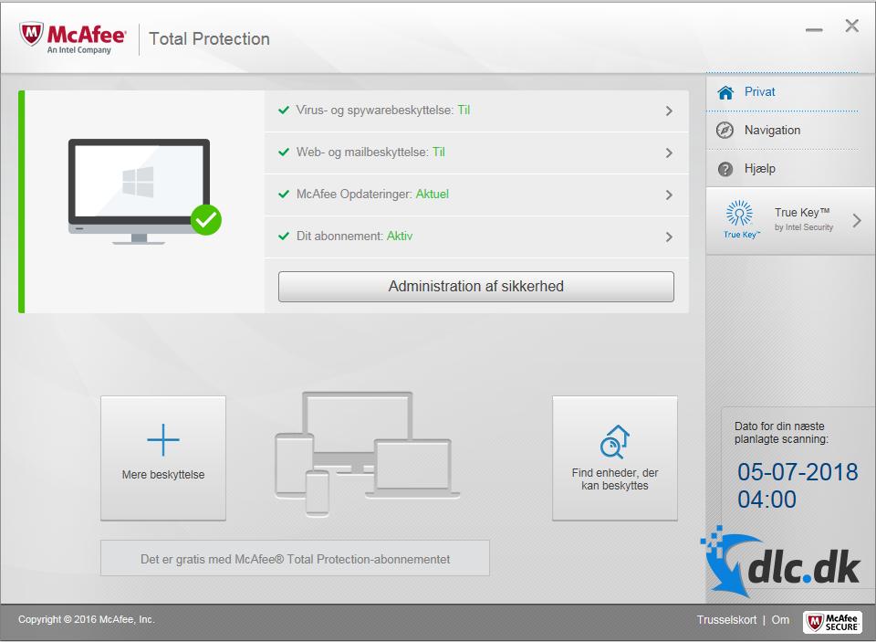 Screenshot af McAfee Total Protection