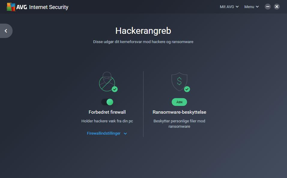 Screenshot af AVG Internet Security