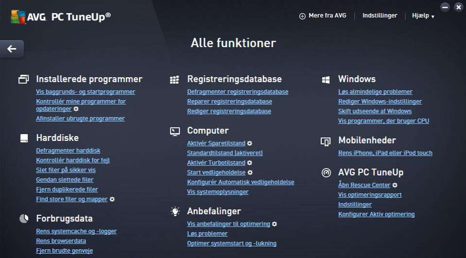 Screenshot af AVG PC Tuneup