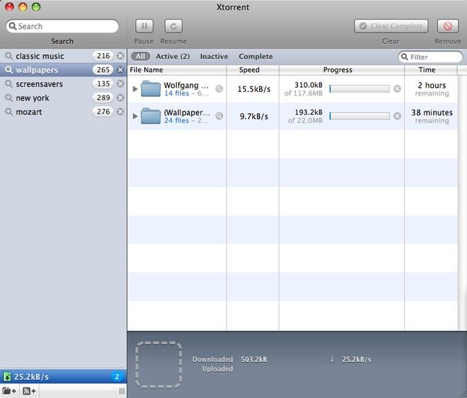 Screenshot af xTorrent für Mac