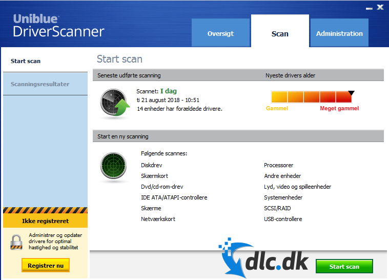 Screenshot af DriverScanner (deutsch)