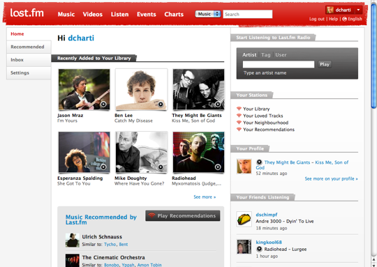 Screenshot af Audioscobbler