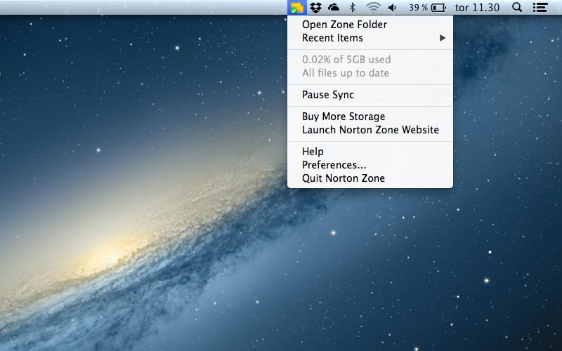 Screenshot af Norton Zone für Mac
