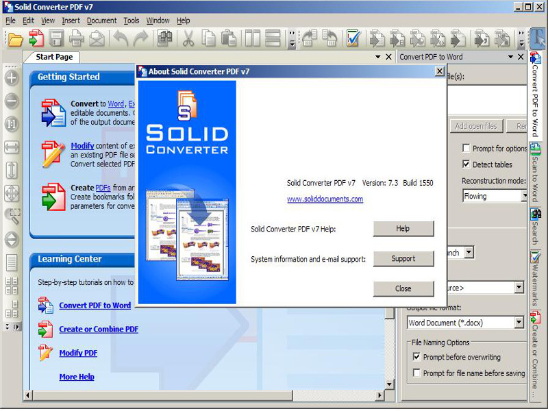 Screenshot af SolidConverter PDF to Word