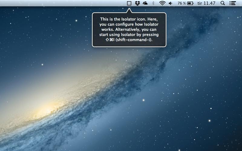 Screenshot af Isolator til Mac