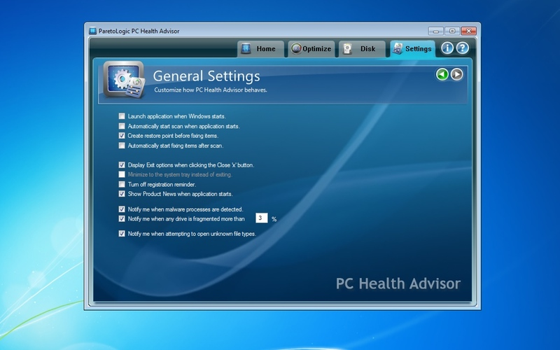 Screenshot af PC Health Advisor