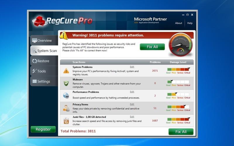 Screenshot af RegCure Pro