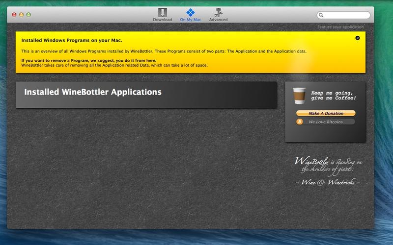 Screenshot von WineBottler für Mac