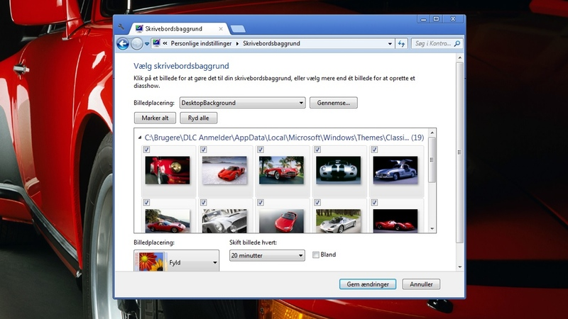 Screenshot af Klassiske sportsbiler-tema