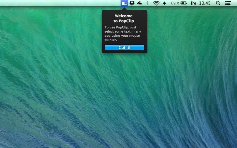 Screenshot af PopClip til Mac