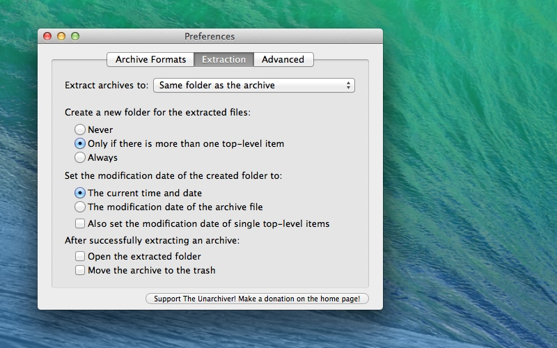 Screenshot af The Unarchiver für Mac
