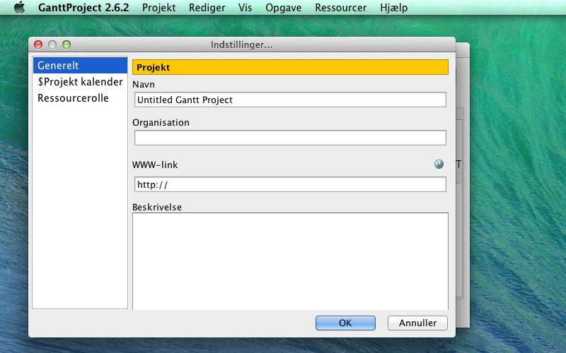 Screenshot af GanttProject für Mac