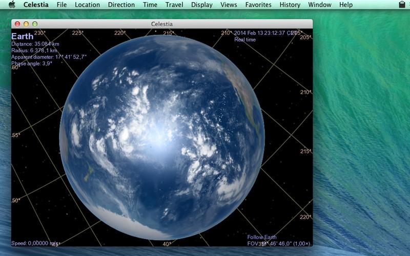 Screenshot af Celestia til Mac