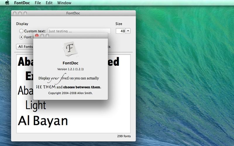 Screenshot af FontDoc til Mac