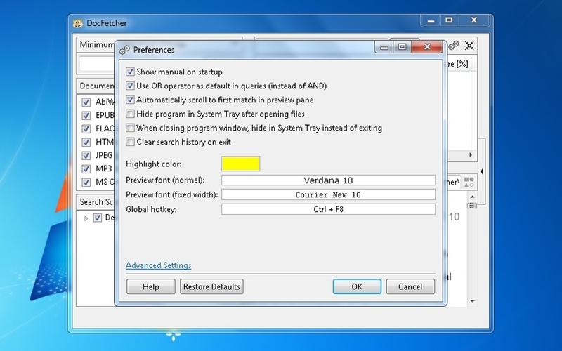 Screenshot af DocFetcher til Mac