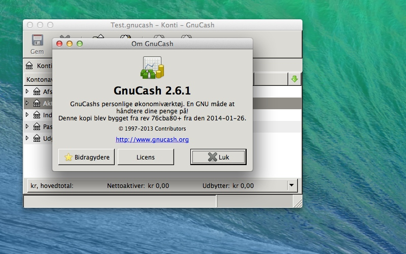 Screenshot af GnuCash til Mac