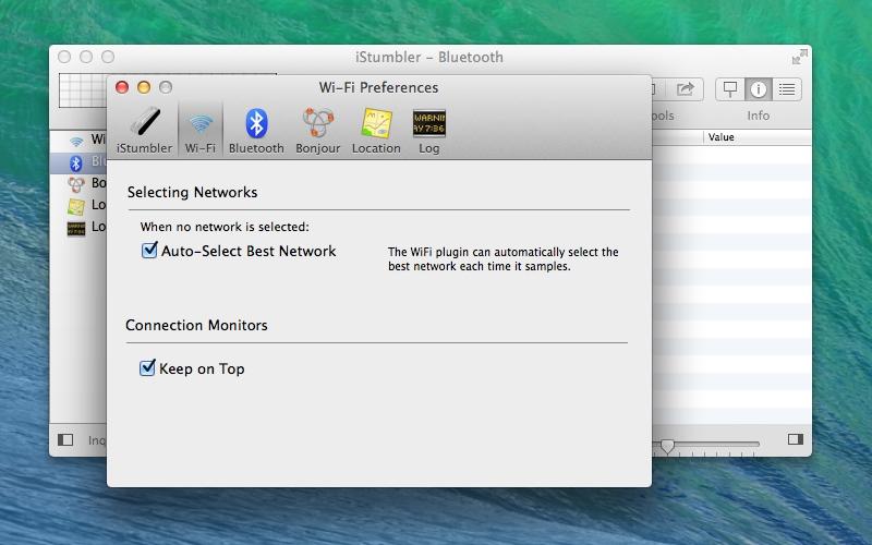 Screenshot af iStumbler für Mac