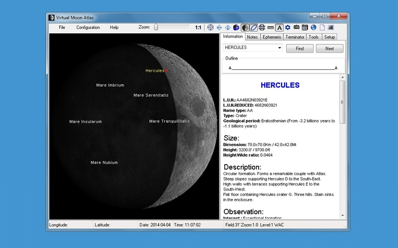 Screenshot af Virtual Moon Atlas für Mac