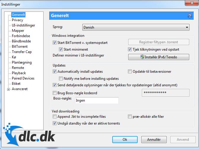 Screenshot af BitTorrent (Deutsch)