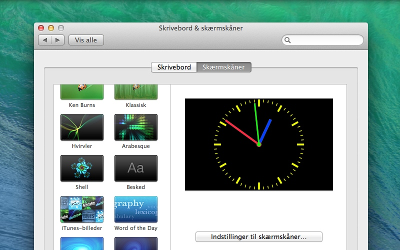 Screenshot af ClockSaver für Mac