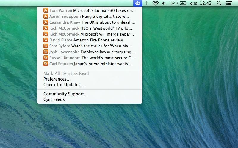 Screenshot af Feeds für Mac