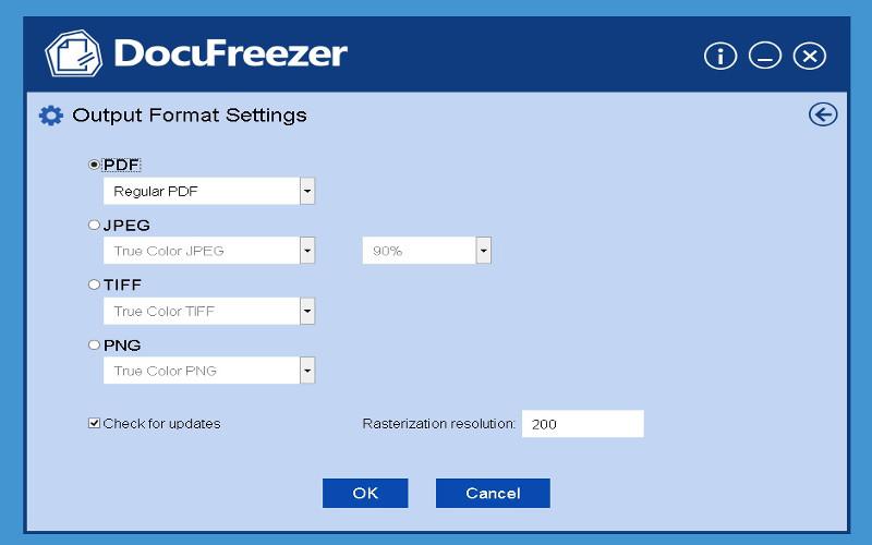 Screenshot af DocuFreezer