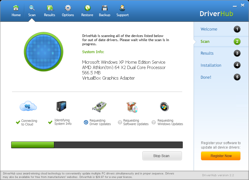 Screenshot af DriverHub