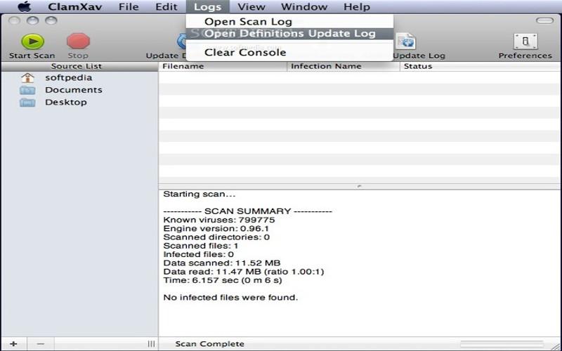 Screenshot af ClamXav für Mac