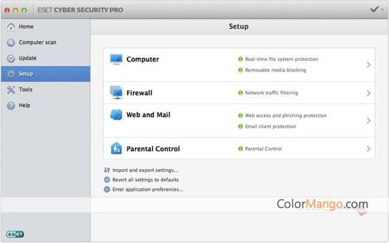 Screenshot af ESET Cyber Security für Mac