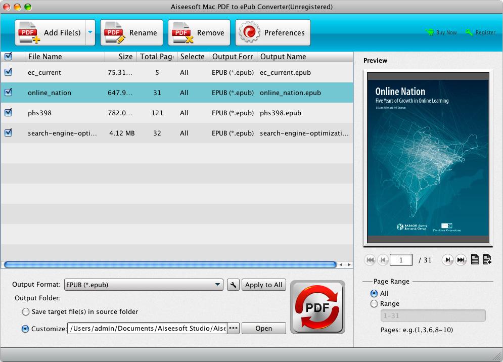 Screenshot af Aiseesoft PDF to ePub Converter (til Mac)