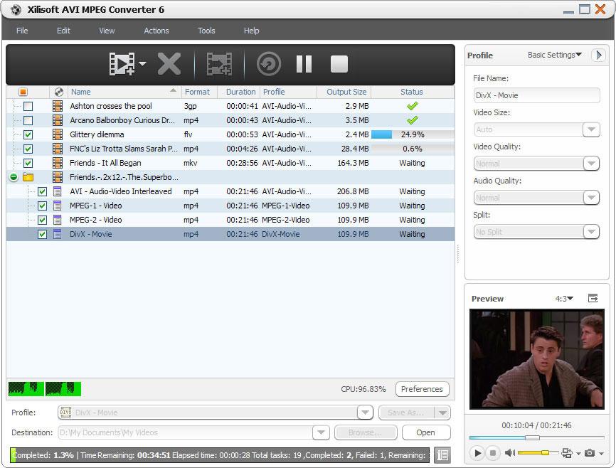 Screenshot af Xilisoft AVI MPEG Converter