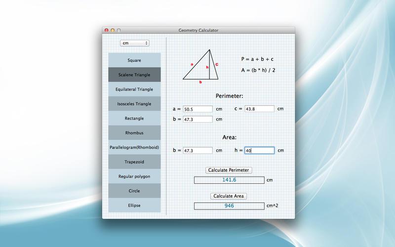 Screenshot af Geometry Calculator