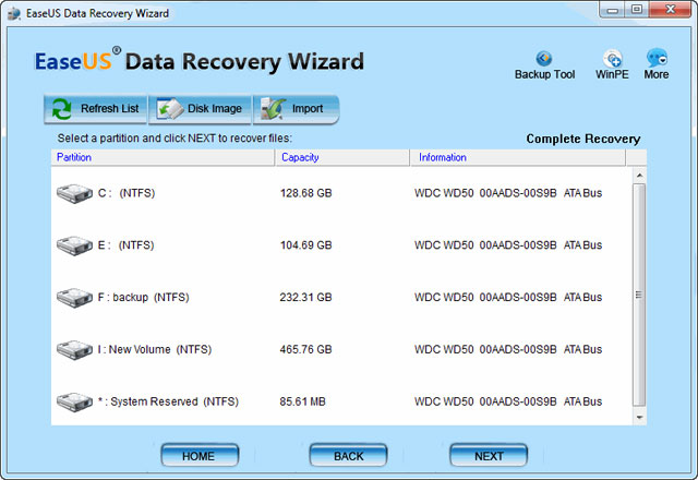 Screenshot af EaseUS Data Recovery für Mac