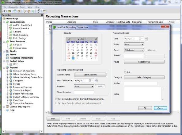 Screenshot af Money Manager EX für Mac