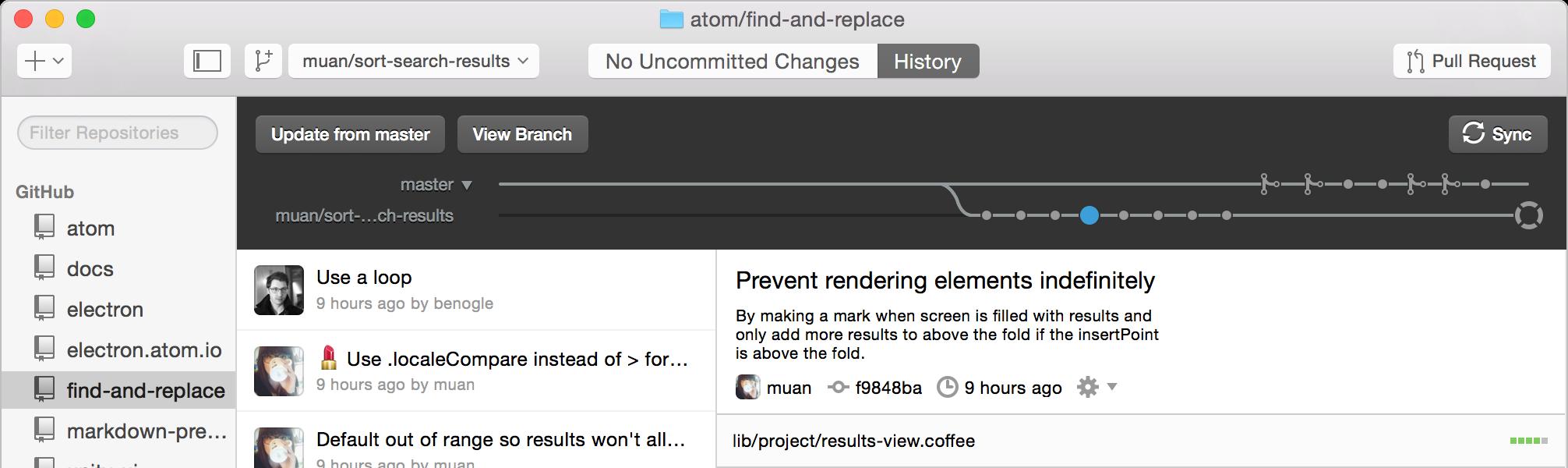 Screenshot af Github für Mac