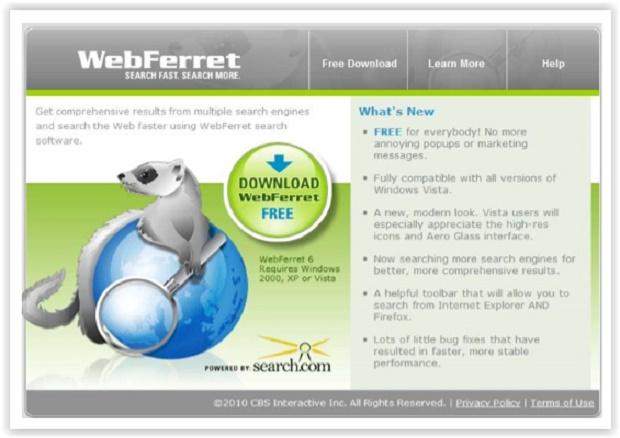 Screenshot von WebFerret