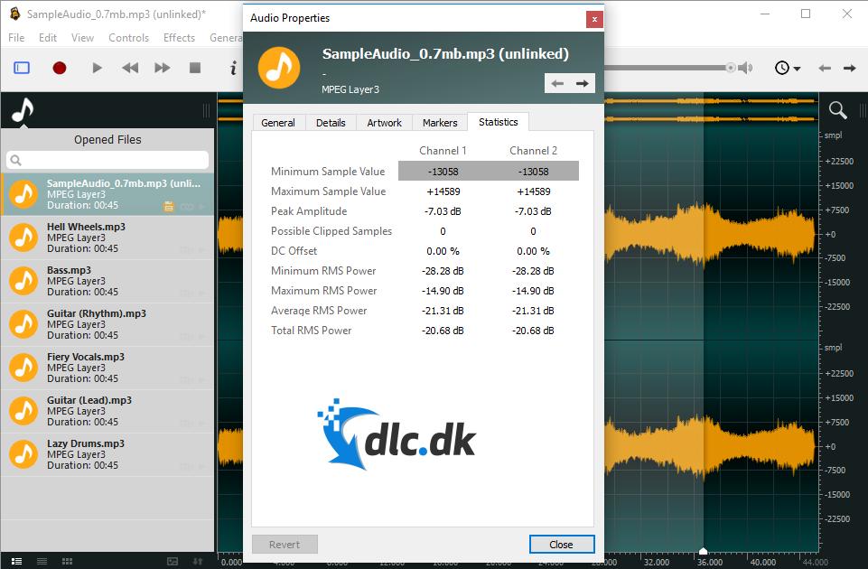 Screenshot af Ocenaudio